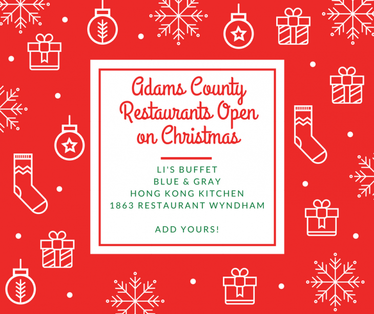 Restaurants in Gettysburg & Adams County open for Christmas